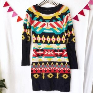{Jessica Simpson} Colorful Patterned Sweater Dress